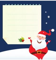 christmas santa and blank note vector image vector image