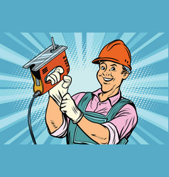 construction worker with jigsaw vector image vector image