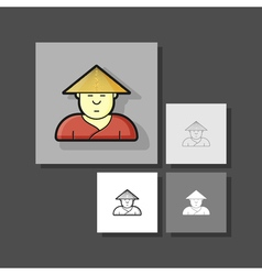 contour icon simpotichny with hipster haircut and vector image