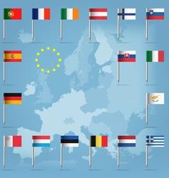 EU countries flag pins over european map vector image