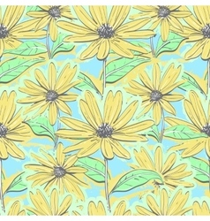 Seamless pattern floral chamomiles autumn flowers vector