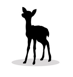 black silhouette fawn white background vector image