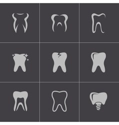 black teeth icons set vector image