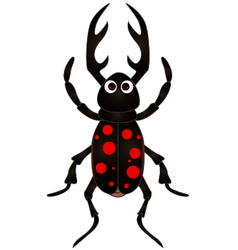 cartoon beetle on white background vector image vector image