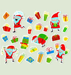 christmas stickers with cute santa clause and vector image vector image
