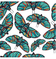 Colorful butterfly seamless background vector