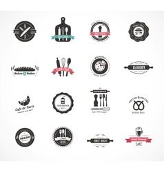 Set of vintage restaurant and food badges labels vector image vector image