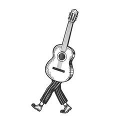 Acoustic guitar walks on its feet sketch engraving vector