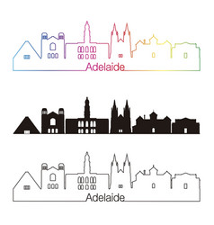adelaide v2 skyline linear style with rainbow vector image