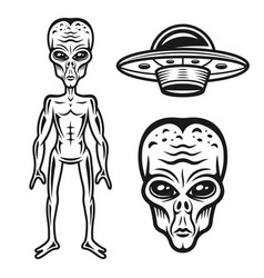 Aliens and ufo objects or design elements vector