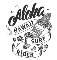 aloha typography with surfboard for t-shirt vector image