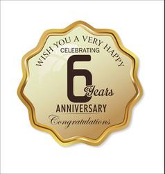anniversary retro label 6 years vector image