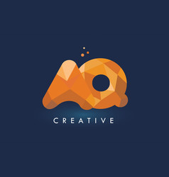 Aq letter with origami triangles logo creative vector