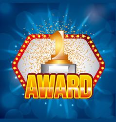 award golden number one on light festive stage vector image