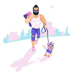 Bearded guy walk dog vector