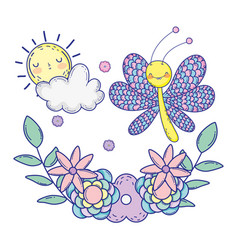 Beautiful butterfly with floral decoration vector