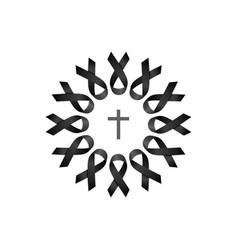 Black ribbon wreath with cross vector