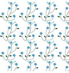 blue flower pattern on white background vector image