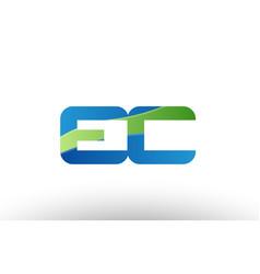 Blue green ec e c alphabet letter logo vector