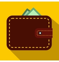 Brown wallet with card and cash icon flat style vector image