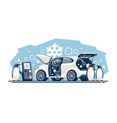 Car air conditioner repair refill penguins vector