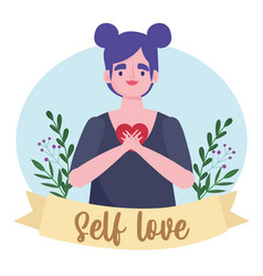 Cartoon character woman with heart self love vector