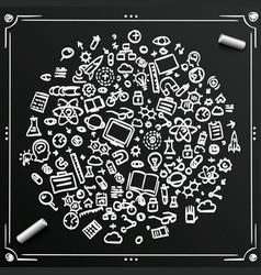 chalkboard sketch set icons sciences circle vector image