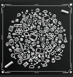 Chalkboard sketch set of icons sciences circle vector