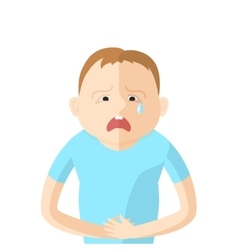 Children have an abdominal pain character in flat vector