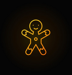 Christmas gingerbread man cookie yellow line icon vector