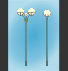 classical street lights in blue background two vector image