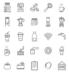 Coffee shop line icons on white background vector