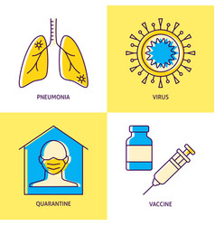 coronavirus infection icon set in line style vector image