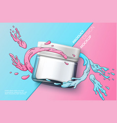 cosmetic glass jar on bright background vector image
