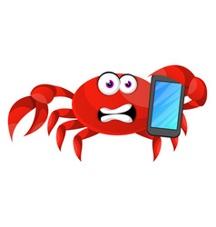 crab with mobile phone on white background vector image