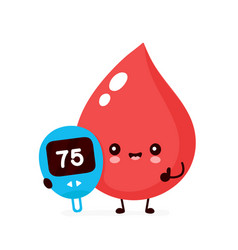 Cute happy blood drop with glucose measuring vector