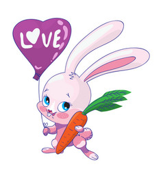 Cute pink bunny with carrots and a balloon vector