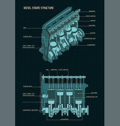 Diesel engine color drawings vector