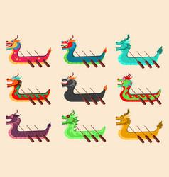 dragon boat cartoon set vector image