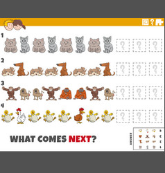 Educational pattern game for kids with cartoon vector