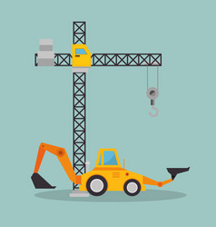 excavator machine with under construction icon vector image