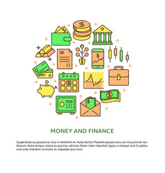 finance and money round concept in line style with vector image
