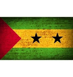 Flags Sao Tome Principe with dirty paper texture vector image