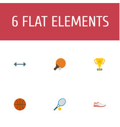 flat icons basket shoes table tennis and other vector image