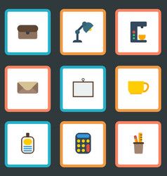 flat icons whiteboard desk light letter and vector image