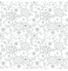 floral pattern based on embroidered flowers vector image