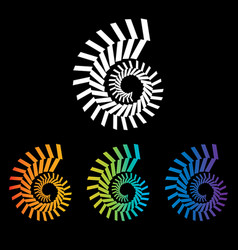 Four colorful nautilus spirals to choose from vector