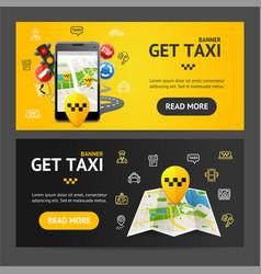Get taxi service banner horizontal set vector