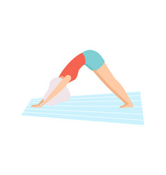 Girl in downward facing dog pose young woman vector