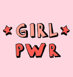 girl power lettering with girly doodles hand draw vector image